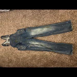 Nasty Gal denim paint splatter overalls jeans XS